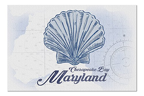 Chesapeake Bay, Maryland - Scallop Shell - Blue - Coastal Icon (20x30 Premium 1000 Piece Jigsaw Puzzle, Made in USA!)