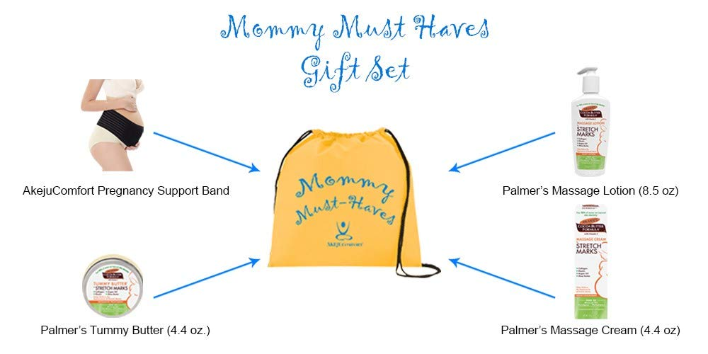 Mommy Must Have's gift set (Black - XL) pregnancy support band Palmer's tummy butter cream lotion baby shower registry gift