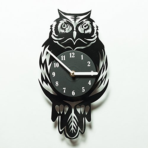 Owl Clocks - Home Décor - DIY Vinyl Record Clock - Vinyl Wall Clock Owl - Decorative Clocks - Clock for Home - Wall Décor - Owl