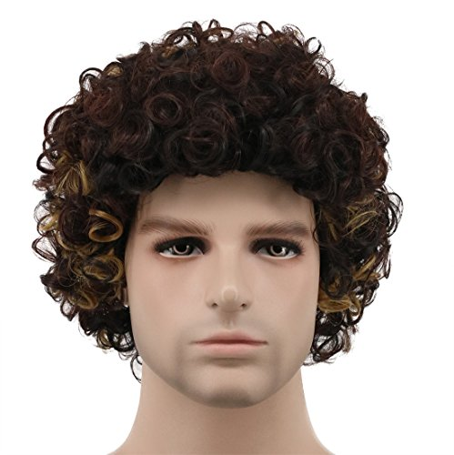 Karlery Men Women Short Bob Curly Black Brown Gold Rocker Wig California Halloween Cosplay Wig Anime Costume Party Wig ()