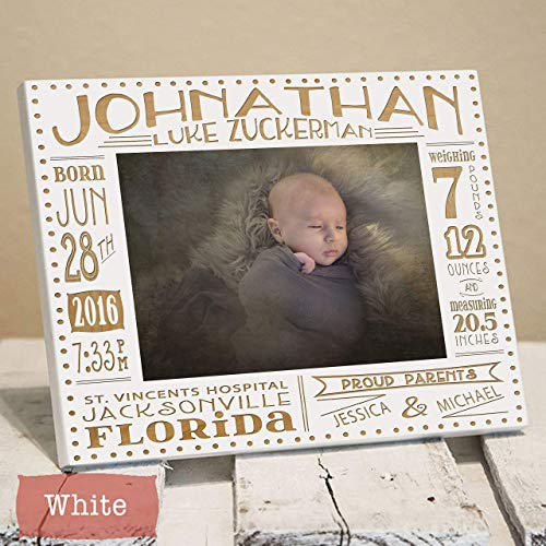 Collage Birth Announcement Picture Frame Engraved with Baby Stats - Newborn Baby Gift - Gift for New Parents - Nursery Picture Frame - Nursery Decor - Gift for New Grandparents (Modern Photo Birth Announcement)