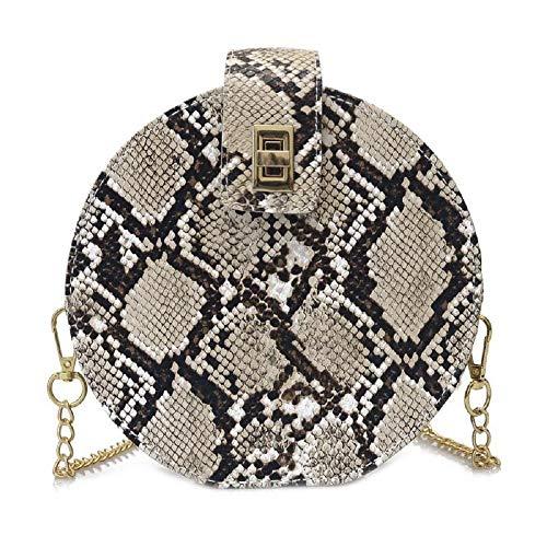 (Aibearty Retro Snakeskin Round Chain Bag Women Small Leather Shoulder Handbags Crossbody Bags Messenger Bag)