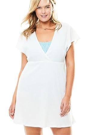 Womens Plus Size Dolman Sleeve Swim Coverup White 1416 At Amazon