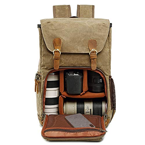 Cuekondy 2019 Fashion Camera Backpack Vintage Waterproof Photography Canvas Bag for Camera, Lens,Laptop and Accessories Travel Use (Khaki)