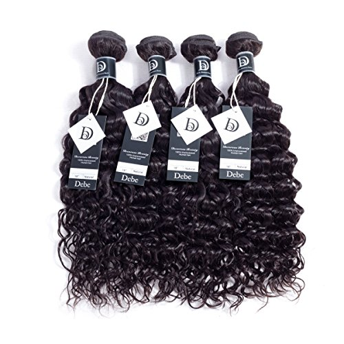 Debe Hair 8A Grade Brazilian Water Wave Hair 4 Bundles Virgin Human Hair Weave Extensions Natural Color Can Be Dyed and Bleached (14 16 18 20 inches) from Debe