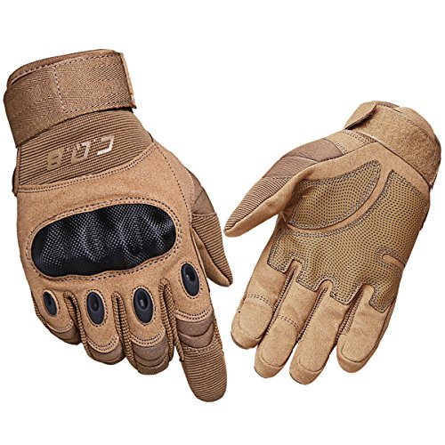 CQB Outdoor Tactical Gloves Riding Cycling Carbon Fiber Hard Knuckle Full Finger Armor Men's Gloves (Sand Fullfinger, XXXL)