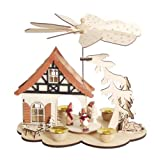 Christmas Pyramid 10 Inches Nativity Play - Black Forest Winter Scene - With 4 Candle Holders and Handpainted Figures - Limited Edition 500 Pieces Only - By Henry Brubaker - Including 20 Candles (Made in Germany)