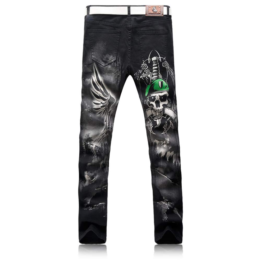 Futtle Men's Individuality Pirate Printed Jeans Male Slim Fit Trousers Nightclub Motobike Style Pants (3, 36)