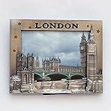 I Love London Photo Frame - Metal Photo Frame - London Souvenir Photo Frame - London Icons Metal Photo Frame - Big Ben, Tower Bridge London Eye Photo frame + LONDON ICONS PHOTO FRAME CUM FRIDGE MAGNET
