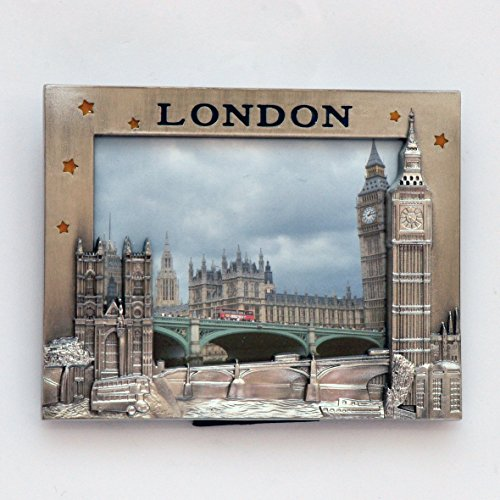 I Love London Photo Frame - Metal Photo Frame - London Souvenir Photo Frame - London Icons Metal Photo Frame - Big Ben, Tower Bridge London Eye Photo frame + LONDON ICONS PHOTO FRAME CUM FRIDGE MAGNET