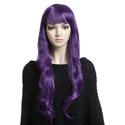 YOPO Wig 30-Inch Long Wavy Synthetic Wig with Wig Cap and Bobby Pins for Women, Purple (Mermaid Wig In Blonde)