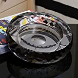 Home Ashtray Crystal Glass Cigarettes Windproof Living Room Coffee Table Multi-function Indoor And Outdoor Ashtray (Black) ( Size : 25CM )