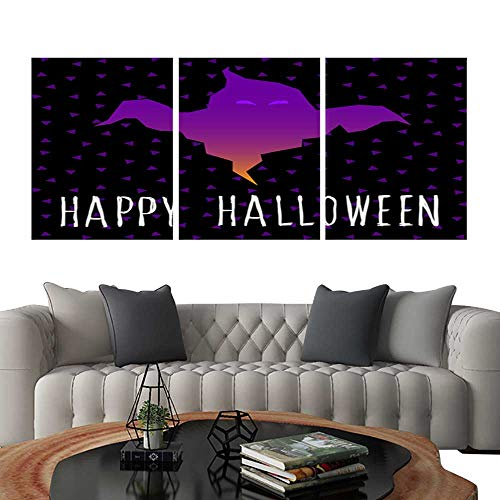 UHOO 3 Piece Wall Art Painting Happy Halloween Card Template Abstract Halloween Pattern for Design Card Party Invitation Poster Album menu t Shirt Bag Print etc 3. Living Room Kitchen 20