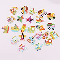 iDream Colourful Transport Style Wooden Button for Sewing Scrapbook DIY (Multicolour) - Pack of 30