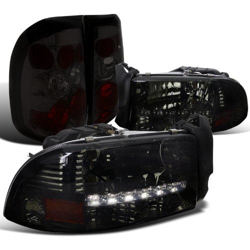 Dodge Dakato Euro Crystal Smoke Headlights+Tint Rear Tail Brake (03 Dodge Dakota Crystal)