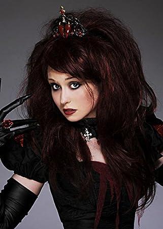 Deluxe gótico Reina de corazones peluca con Tiara