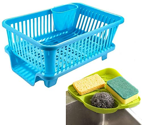 Zyomatiq Popular 3 in 1 Large Durable Sink Plastic Kitchen Dish Rack Utensil Drainer Drying Basket with draining Tray…