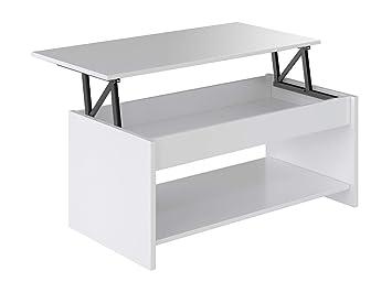 Movian Table Basse Avec Plateau Relevable Et Petite Etagere Aggol Modern 50 X 100 X 44 Blanc