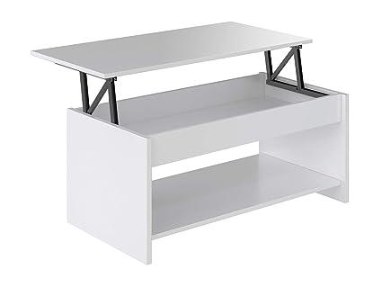 Marca Amazon - Movian Aggol Modern - Mesa de centro elevable con balda inferior, 50 x 100 x 44 cm (blanco)