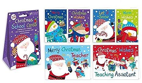 Christmas Cards For Teachers.Amazon Com 32 X Childrens Glitter Christmas Cards School