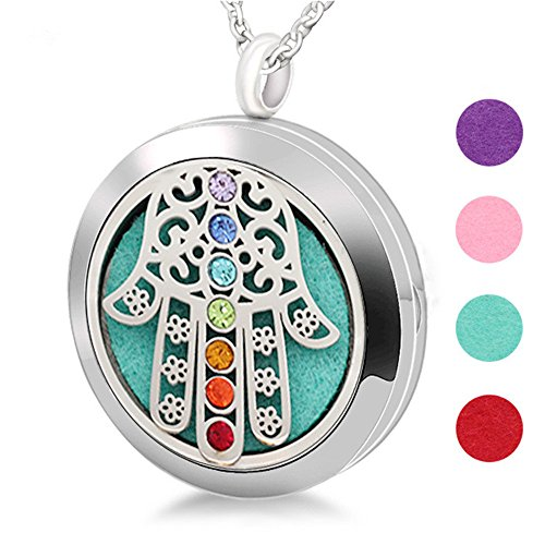 LF 316L Stainless Steel Personalized 7 Chakras Hamsa Hand Aromatherapy Necklace - Energy Stone Essential Oil Diffuser Necklace Fatima Aromatherapy Fragrance Locket Pendant,Free Engraving (Locket Free Engraving)