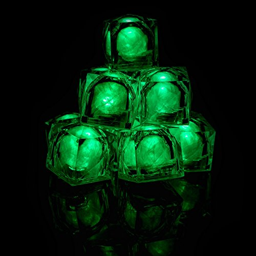Fun Central AC965, 12 Pcs, 1.2 Inch, Green LED Light Up Ice Cubes, Glowing Ice Cubes, Glow in the Dark Cubes, Glow Ice Cubes, Flashing Ice Cubes, Colored Drink Ice Cubes