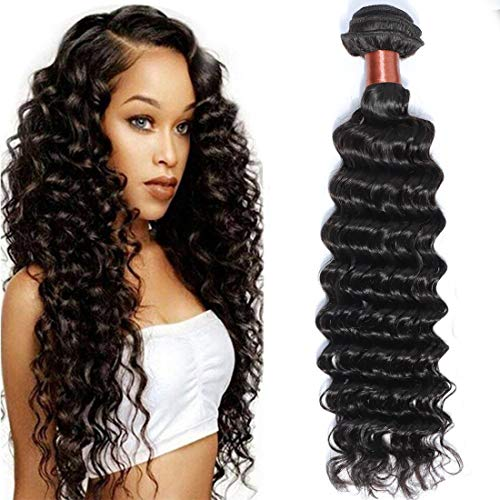 Angie Queen Unprocessed Brazilian Virgin Hair Deep Wave 18 Inch One Bundle Virgin Human Hair Extension Natural Black Color (100+/-5g)/pc (One Bundle)