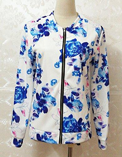 Baseball Bomber Trench Giacche Donna Blu Sportiva Elegante Lunga Floreale Cerniera Top Manica Cappotti Casual Corto Autunno Giubbino Giacca Primavera Moda 7R6gcHqaq