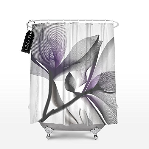 Chic D Home Decorations Contemporary X-Ray Flowers Shower Curtain, Cool Floral, Lavender,72 x 72 Inch - Contemporary Curtain Floral