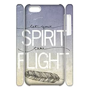 Feather Quote Fly DIY 3D Cover Case for Iphone 5C,personalized phone case ygtg617229
