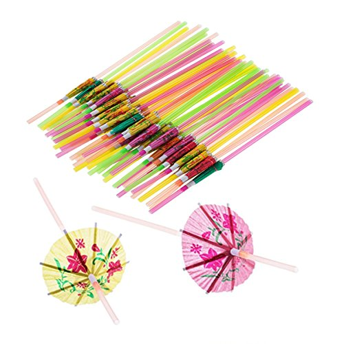 100 Pcs Disposable Umbrella-Shaped Straws Flexible Bendable Table Decor Straws for Tropical Drinks Soft Drinks Hawaiian Cocktail Bars Restaurants Luau Party Supply Beverage -