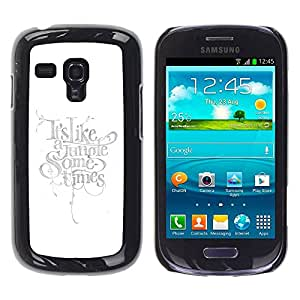 PC/Aluminum Funda Carcasa protectora para Samsung Galaxy S3 MINI NOT REGULAR! I8190 I8190N Text Light Bright Calligraphy / JUSTGO PHONE PROTECTOR