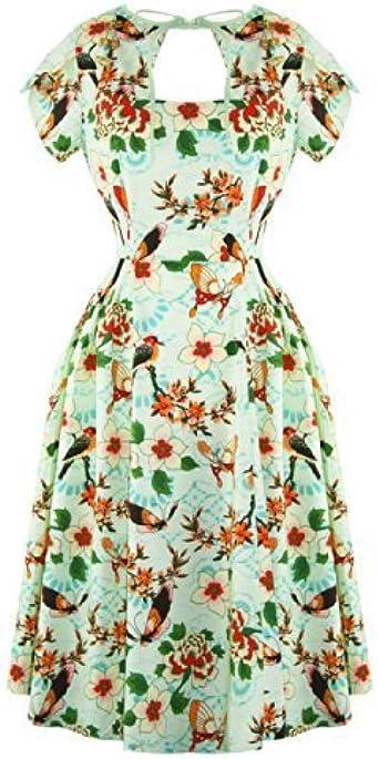 Banned Tropical 50s Verde, diseño Pin-up Fête-Vestido De Baile con ...
