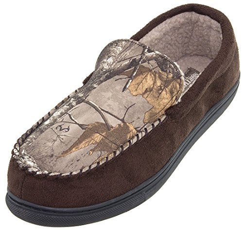 Image of Northern Trail Brown Camo Moccasin Slippers for Men