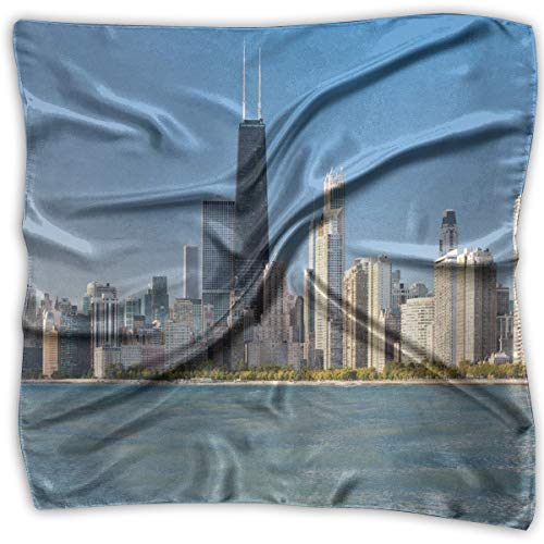 Bandana Head and Neck Tie Neckerchief,View Of Chicago Skyline From Michigan Lake Famous American Town Midwest Panorama - Tie Silk Chicago Cubs