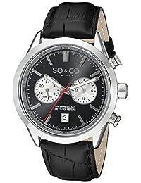 SO & CO New York Men's 5056.1 Monticello Analog Display Quartz Black Watch