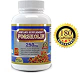 Forskolin Pure Extract 250 mg Serving, 180 Veggie Capsules, Premium Quality, High Potency, 3 Months' Supply, Best Value on Market, Experience the Forskolin Extract for Weight Loss
