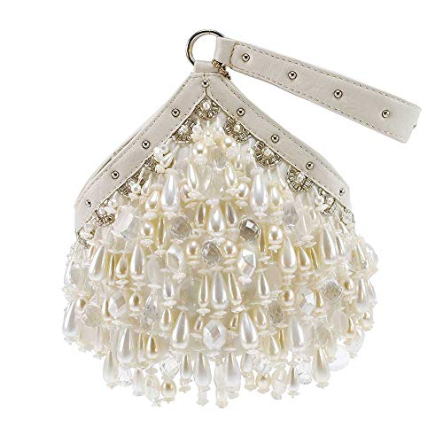 Mary Frances Pearl Persuasion Beaded Bridal Wristlet Handbag, White