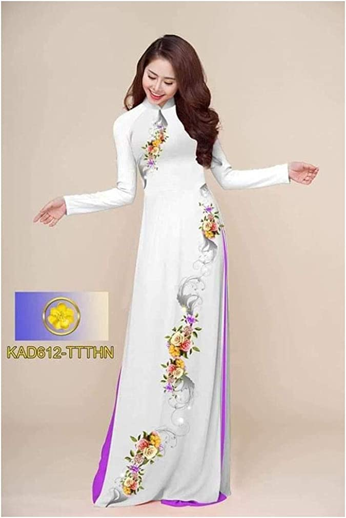 Traditional Vietnamese Long Dress Collections with Pants Ao Dai Silk 3D ADVN0405202341