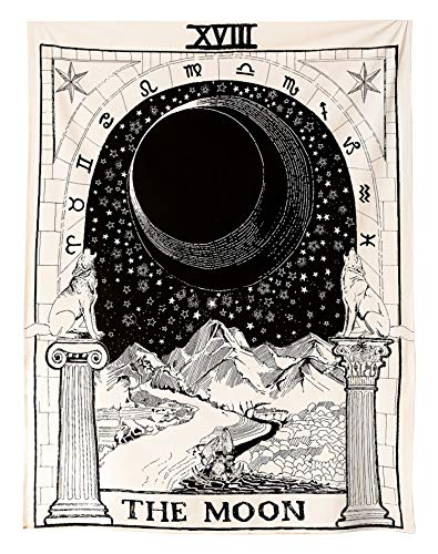 Muses Boutique Tarot Star Tapestry Black and White Wall Hanging Bohemian Hippie Ethnic Wall Art Boho Hippy Queen Bedspread Dorm Decor Yoga Mat Beach Rugs Towel Meditation Tapestries