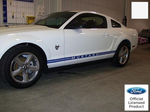 Decal Mods Rocker Panel Door Side Stripes Decals for Ford Mustang White - RB - CW ()