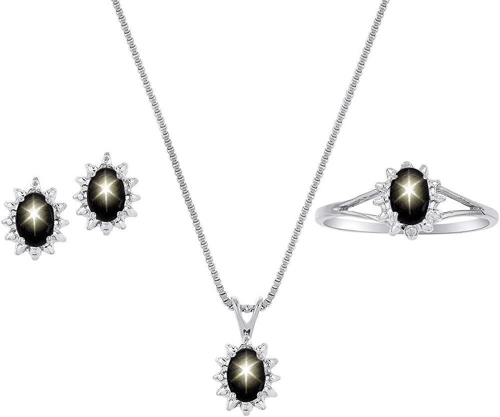Diamond y negro Star Sapphire–Juego de anillo, collar con colgante y pendientes, Plata de Ley
