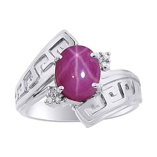 Diamond & Star Ruby Ring Set In Sterling Silver - Greek Key Design - Color Stone Birthstone ()