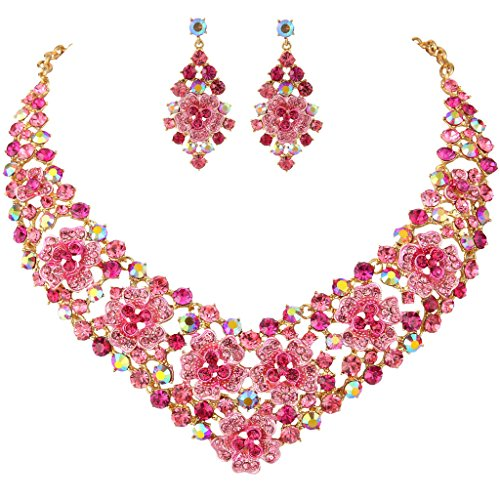 EVER FAITH Women's Crystal Enamel Spring Flower V-Shape Necklace Earrings Set Pink (Spring Floral Necklace)