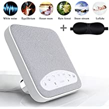 Sleep Sound Machines White Noise Machine for Sleep with 6 Natural Sounds and Timer USB Output Charger for Adults, Baby Lullaby (white)