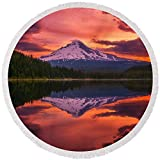 Pixels Round Beach Towel With Tassels featuring ''Mount Hood Sunrise'' by Darren White
