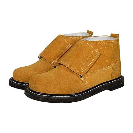 Qiusa Zapatos de Soldador para Hombres Zapatos de Seguridad duraderos Anti punción Resistente a los pinchazos
