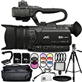JVC GY-HM170 4KCAM Compact Professional Camcorder 14PC Accessory Bundle – Includes Manufacturer Accessories + 3 Piece Filter Kit (UV + CPL + FLD) + 4PC Macro Filter Set (+1,+2,+4,+10) + MORE
