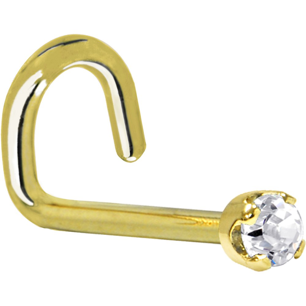 Solid 14k Yellow Gold 2mm Clear Cubic Zirconia Left Nostril Screw 20 Gauge 1/4 Body Candy G-544