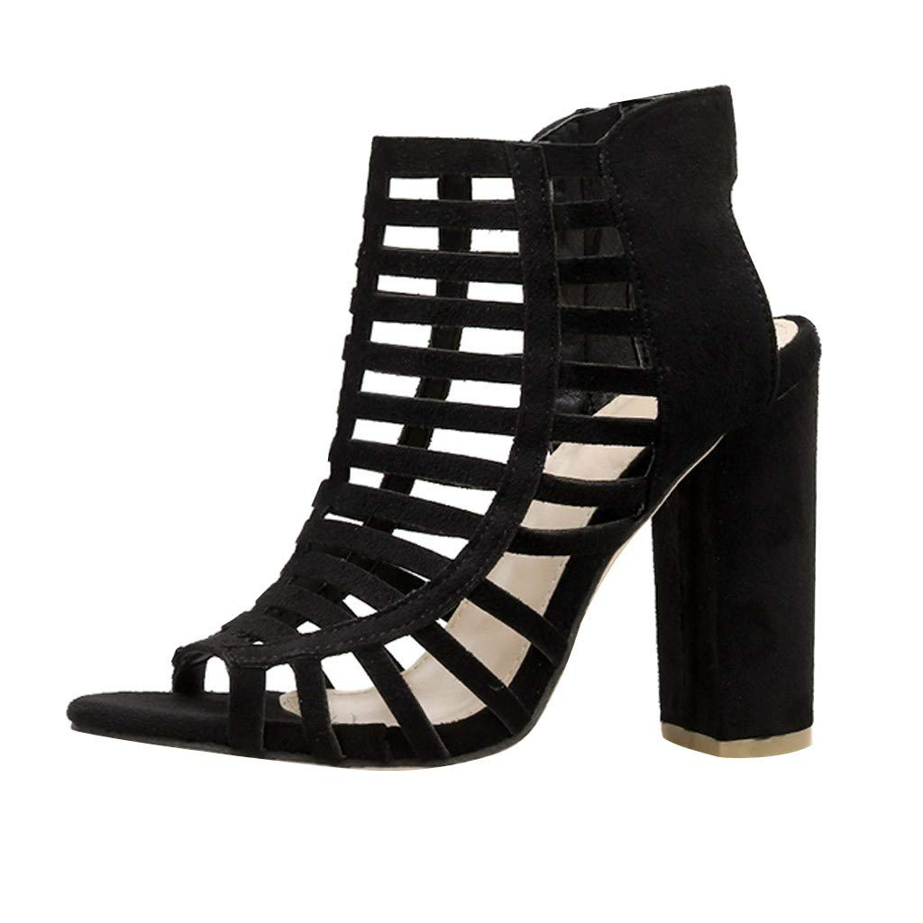 Women Chunky Heel Sandals,Female Gladiator Pumps Summer Casual Hollow Peep Toe Zipper Flock Roman Sandals by Dacawin-Women Sandals
